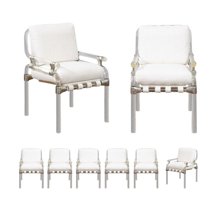 Staggering Set of Eight Signed Lucite Dining Chairs by Jeff Messerschmidt, 1985
