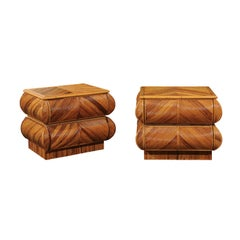 Magnificent Restored Pair of Bullnose Small Chests in Bamboo, circa 1980