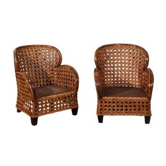 Radiant Pair of Art Deco Revival Club Chairs in Magnificent French Cane