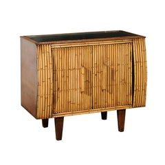 Chic Restored Art Deco Commode in Bamboo and Black Lacquer, circa 1940