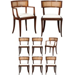 Exquisite Set of Ten Klismos Cane Dining Chairs by Baker, circa 1958