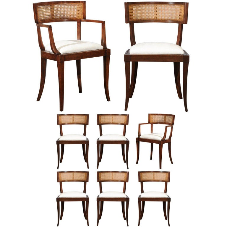 Exquisite Set of Ten Klismos Cane Dining Chairs by Baker, circa 1958 For Sale