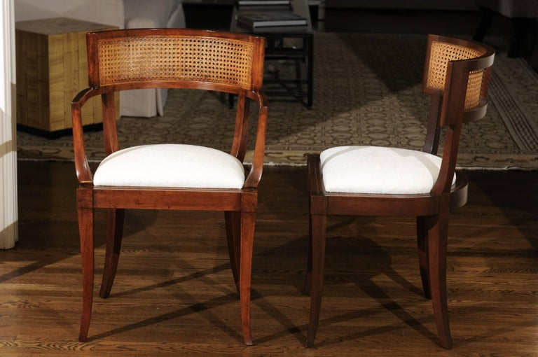 Mid-Century Modern Exquisite Set of Ten Klismos Cane Dining Chairs by Baker, circa 1958 For Sale