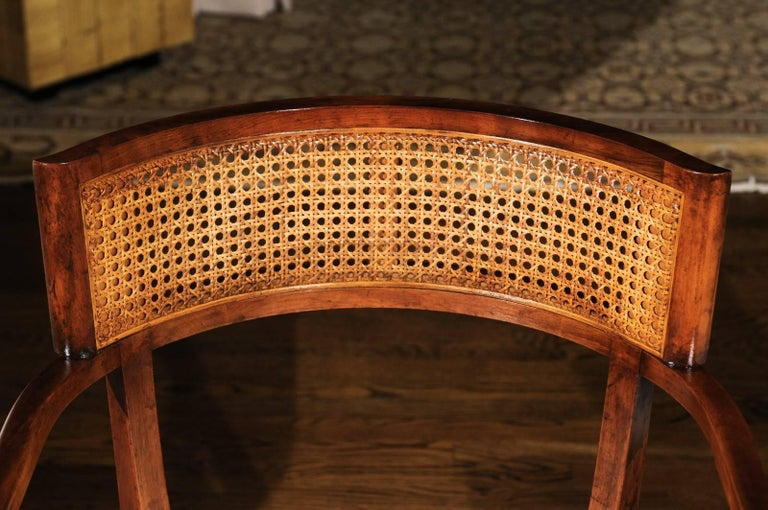 Exquisite Set of Ten Klismos Cane Dining Chairs by Baker, circa 1958 In Excellent Condition For Sale In Atlanta, GA