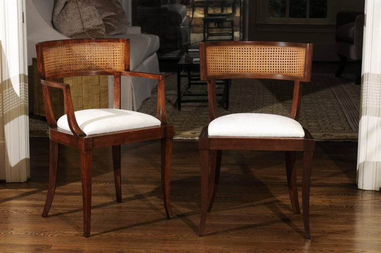 Exquisite Set of Ten Klismos Cane Dining Chairs by Baker, circa 1958 For Sale 1