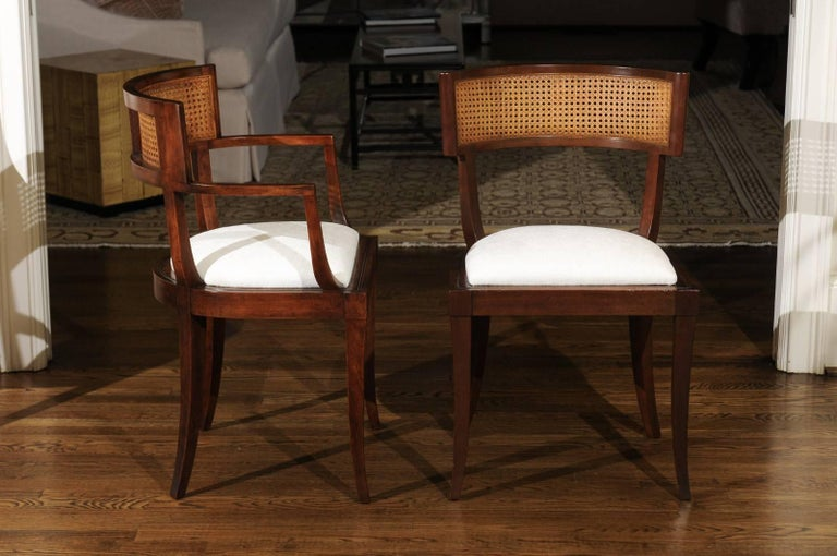 Exquisite Set of Ten Klismos Cane Dining Chairs by Baker, circa 1958 For Sale 3