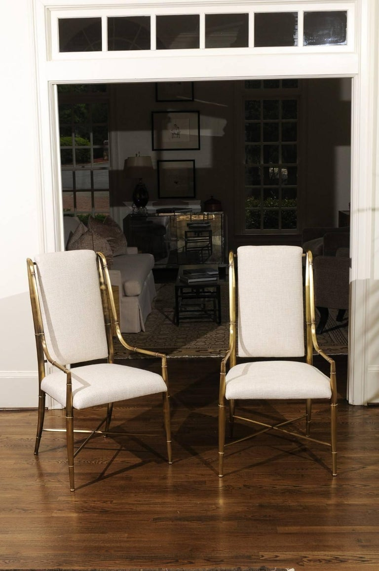 An exquisite set of ten (10) solid brass faux bamboo dining chairs by Weiman/Warren Lloyd, Italy, circa 1975. This rare series, known as the