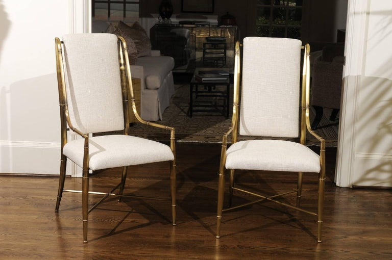 Brass Magnificent Set of Ten Dining Chairs by Weiman/Warren Lloyd for Mastercraft For Sale