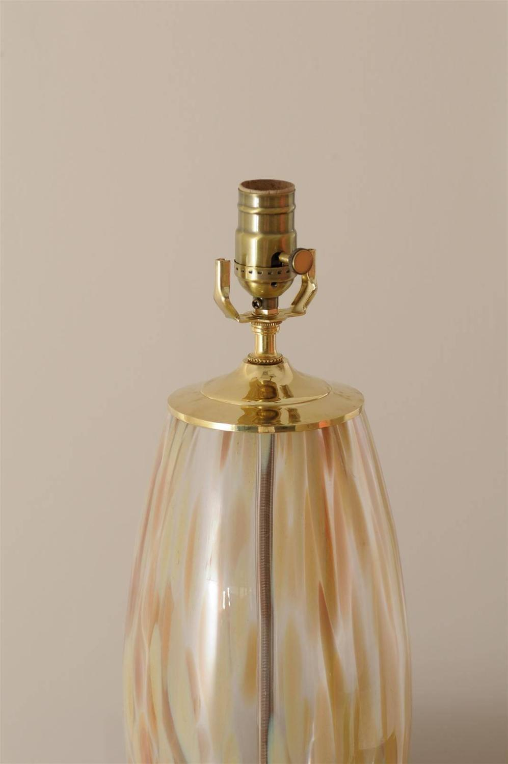 Stunning Pair of Blown Murano Lamps with Brass and Lucite Accents For Sale at 1stdibs