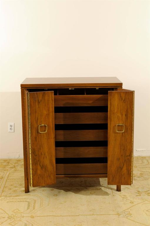Brass Exquisite Widdicomb Chest in Bookmatched Black Walnut For Sale