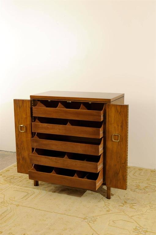 Mid-20th Century Exquisite Widdicomb Chest in Bookmatched Black Walnut For Sale