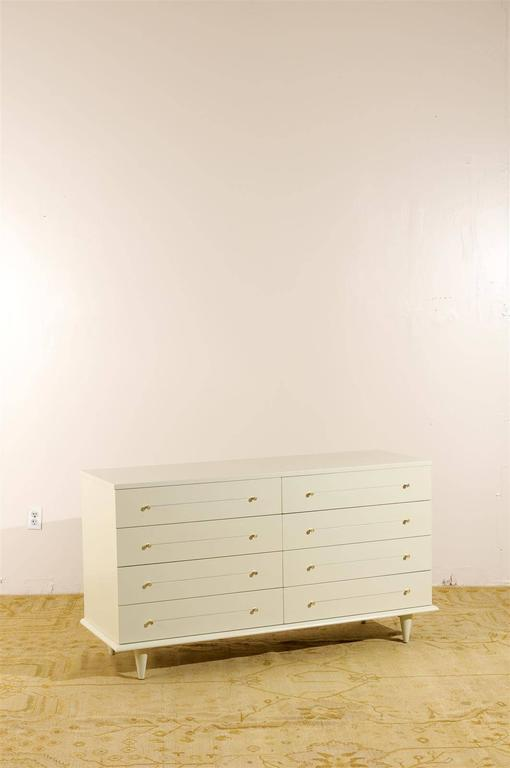 Mid-Century Modern Modern Eight-Drawer Chest Restored in Cream Lacquer For Sale