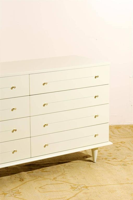 American Modern Eight-Drawer Chest Restored in Cream Lacquer For Sale