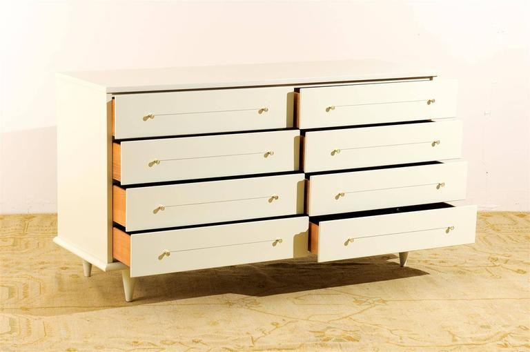 Brass Modern Eight-Drawer Chest Restored in Cream Lacquer For Sale