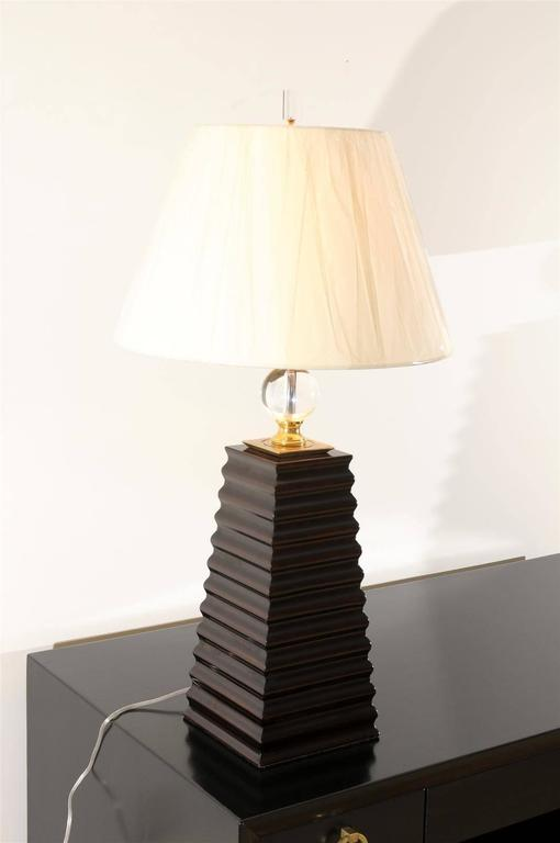 Pair Of Fluted Obelisk Lamps With Brass And Crystal