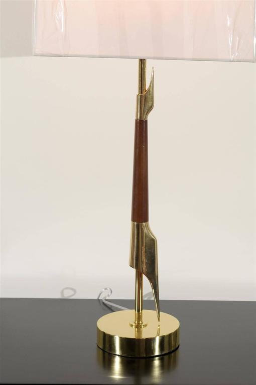 Restored Pair Of Elegant Rembrandt Rocket Lamps In Walnut