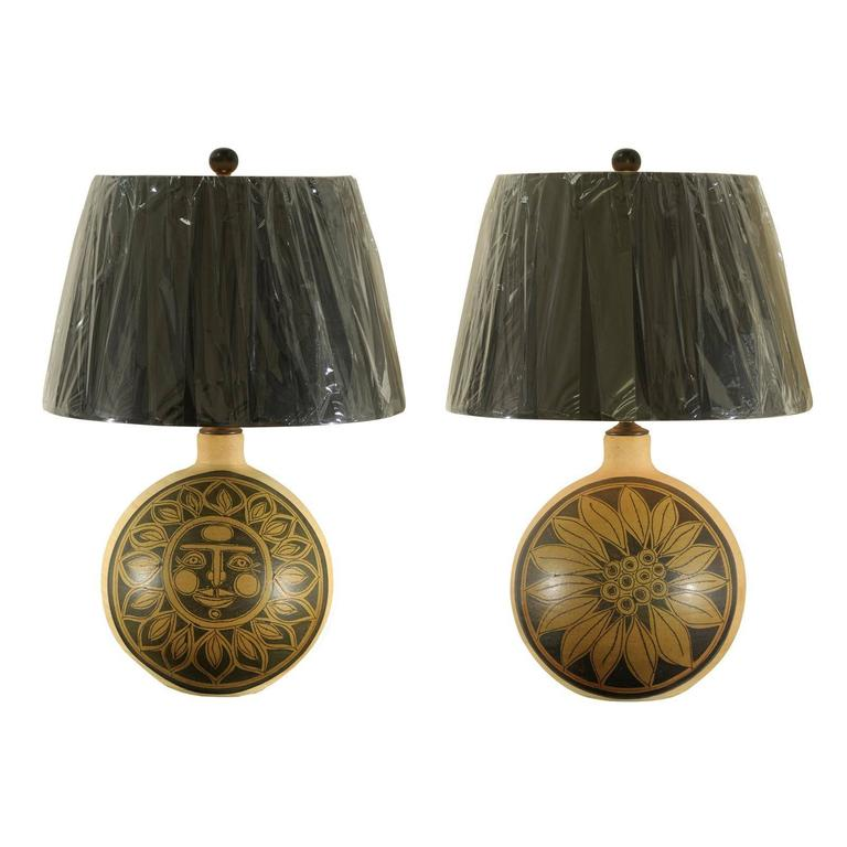 Spectacular Pair of Vintage Ceramic Sun and Sunflower Lamps
