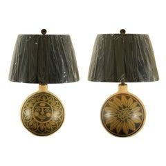 Spectacular Restored Pair of Vintage Ceramic Sun and Sunflower Lamps, circa 1960