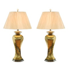 Sculptural Pair of Twisted Modern Lamps in Brass and Nickel