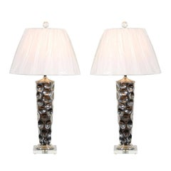 Pair of Modern Ceramic Tornado Lamps with Nickel and Lucite Accents