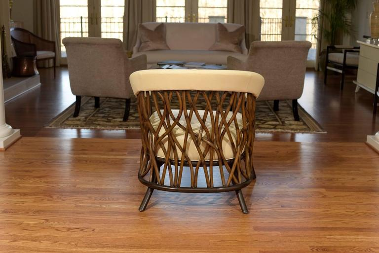American Stunning Pair of Rattan Club Chairs in Parchment Leather For Sale
