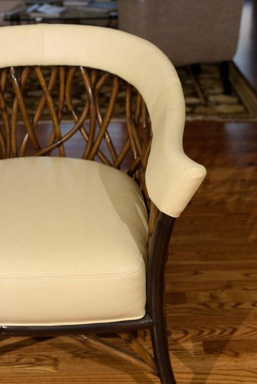 Stunning Pair of Rattan Club Chairs in Parchment Leather In Excellent Condition For Sale In Atlanta, GA