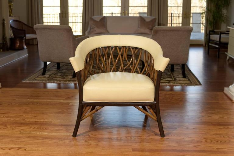 Stunning Pair of Rattan Club Chairs in Parchment Leather For Sale 2