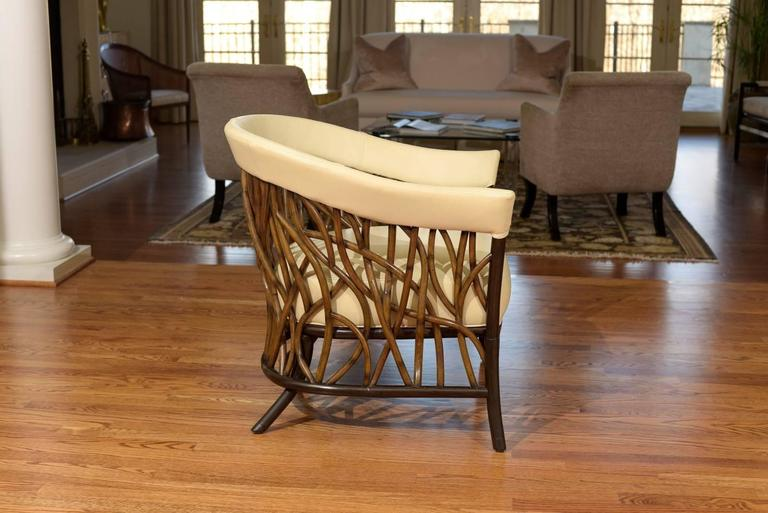 Stunning Pair of Rattan Club Chairs in Parchment Leather For Sale 1