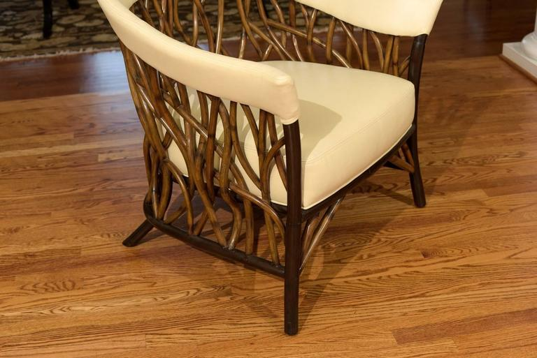 Stunning Pair of Rattan Club Chairs in Parchment Leather For Sale 3