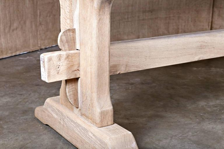 Washed Oak Country French Trestle Table At 1stdibs