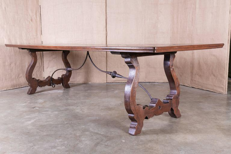 Forged Antique French Trestle Table With Parquet De Versaille Top And Iron  Stretcher For Sale