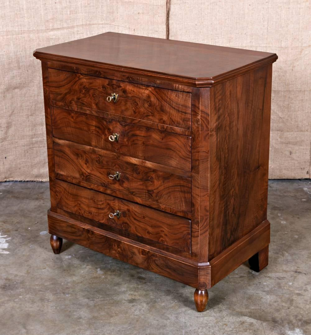petite french louis philippe period commode with book matched front at 1stdibs. Black Bedroom Furniture Sets. Home Design Ideas