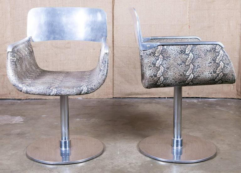 Pair of Italian Faux Python Swivel Chairs For Sale 1