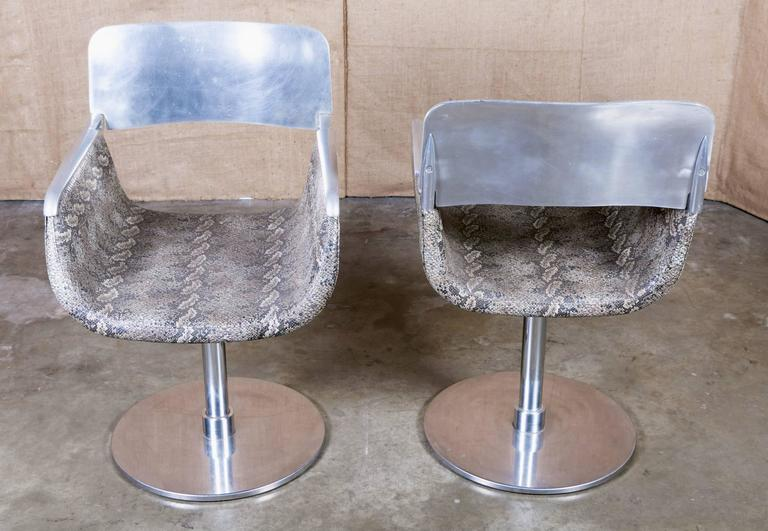 Pair of Italian Faux Python Swivel Chairs For Sale 2