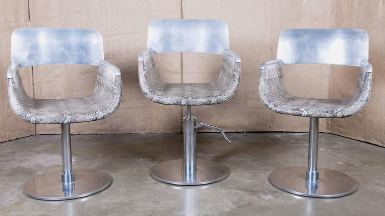 Pair of Italian Faux Python Swivel Chairs For Sale 5