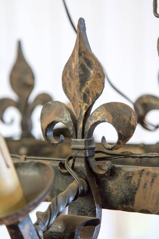 Country French Four Light Hand Forged Iron Fleur De Lis
