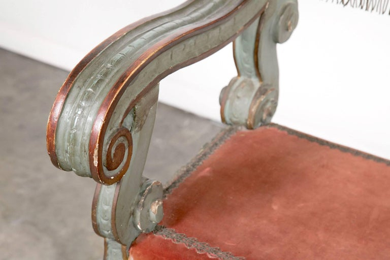 Pair of 18th Century Carved and Painted Baroque Tuscan Arm Benches 8