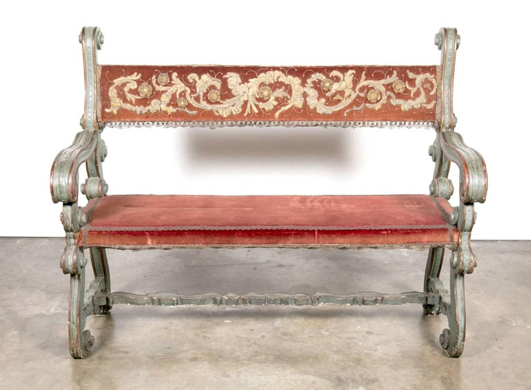 Pair of 18th Century Carved and Painted Baroque Tuscan Arm Benches 5