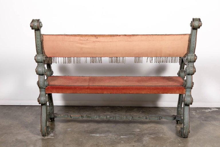 Pair of 18th Century Carved and Painted Baroque Tuscan Arm Benches 10