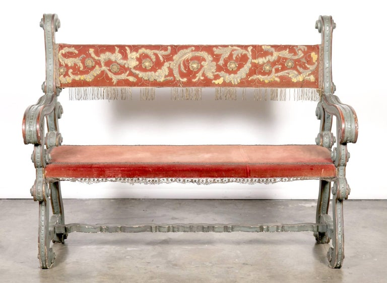 Pair of 18th Century Carved and Painted Baroque Tuscan Arm Benches 2
