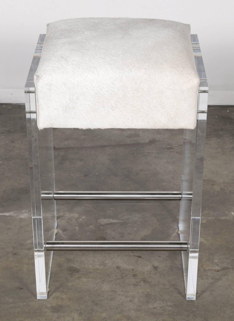 American Gigi Lucite and Hide Counter Stool with Foot Rests For Sale