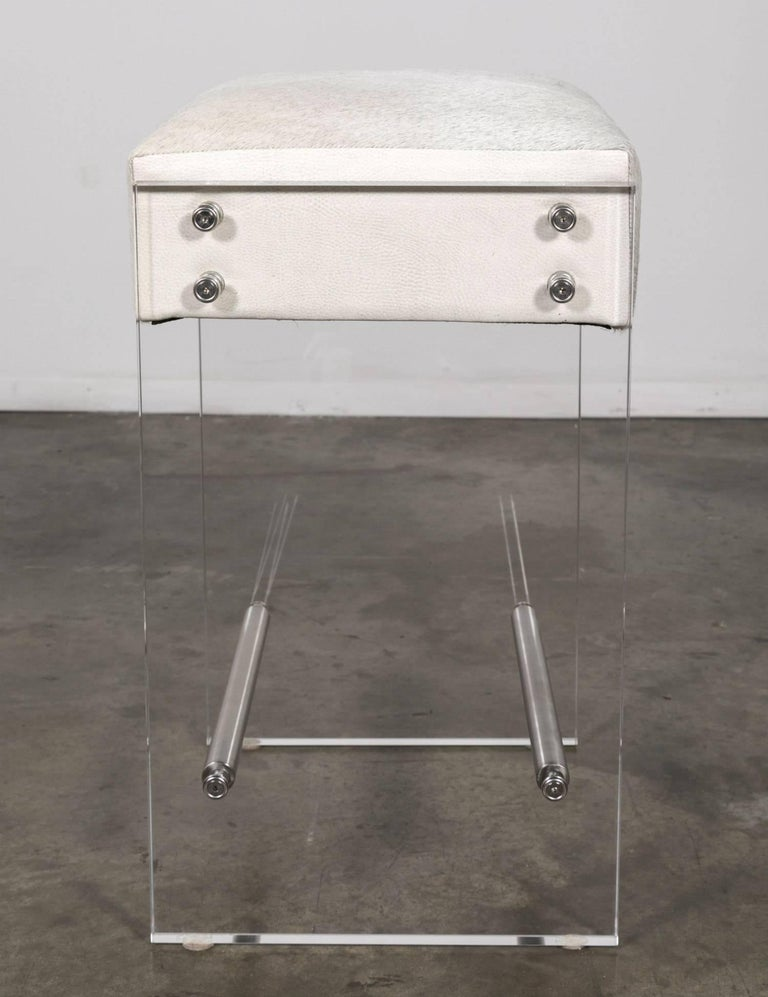 Gigi Lucite and Hide Counter Stool with Foot Rests In Excellent Condition For Sale In Birmingham, AL