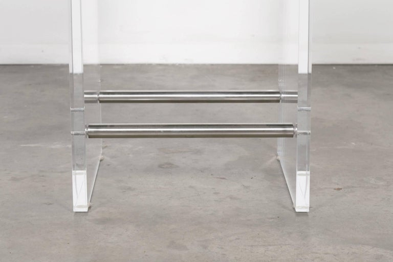 Gigi Lucite and Hide Counter Stool with Foot Rests For Sale 2