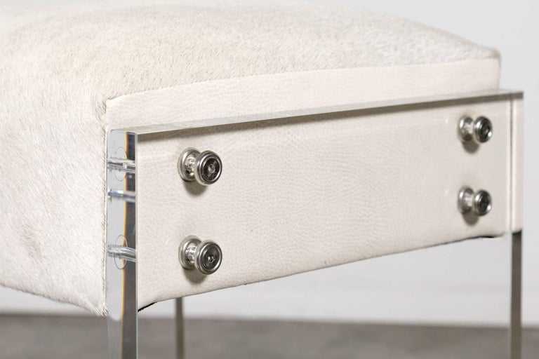 Cowhide Gigi Lucite and Hide Counter Stool with Foot Rests For Sale