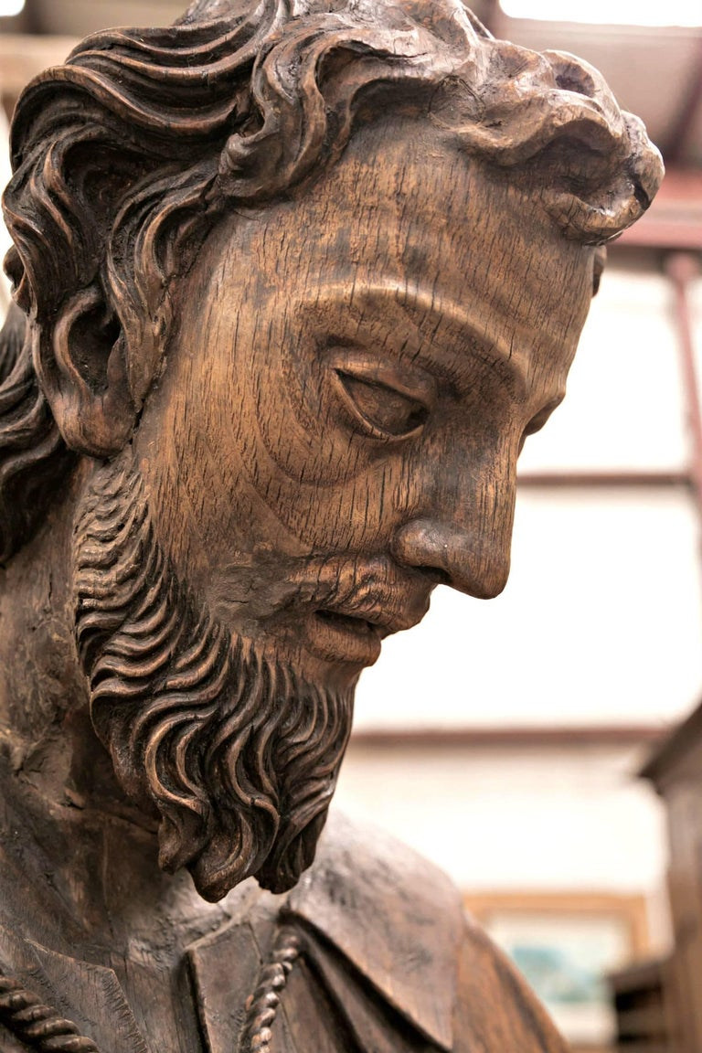Rare 18th Century Life Size Carved Wood Statue of St. Joseph In Good Condition For Sale In Birmingham, AL