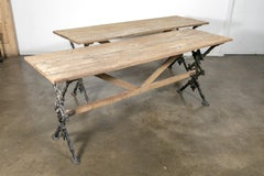 Pair of Antique French Bistro Tables with Cast Iron Bases and Washed Oak Tops