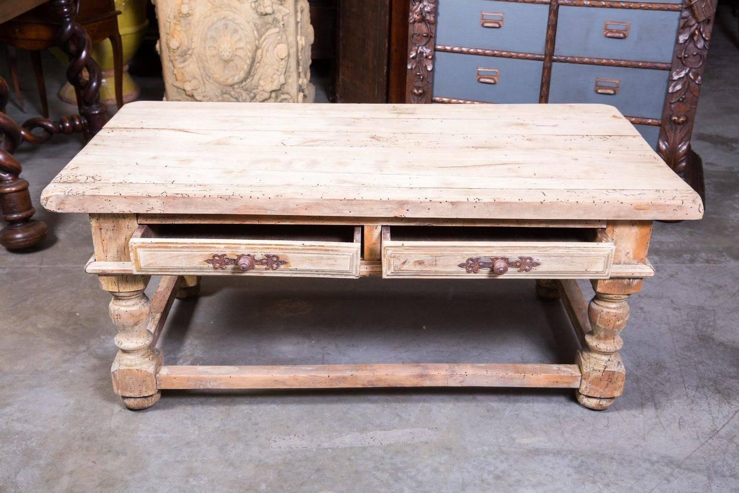 Country French Bleached Wood Coffee Table At 1stdibs