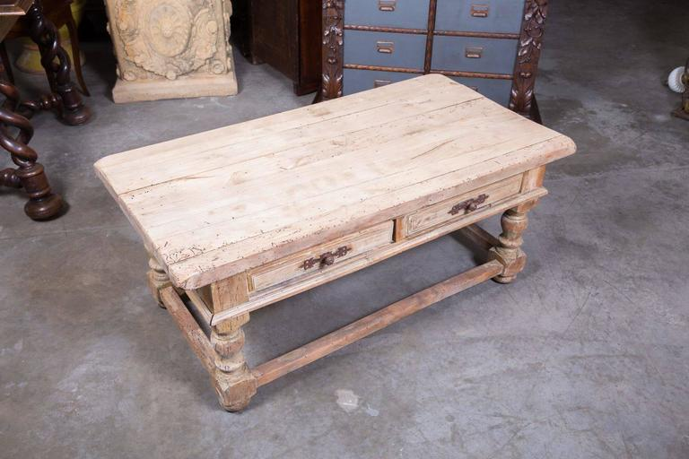 Country French Bleached Wood Coffee Table 3