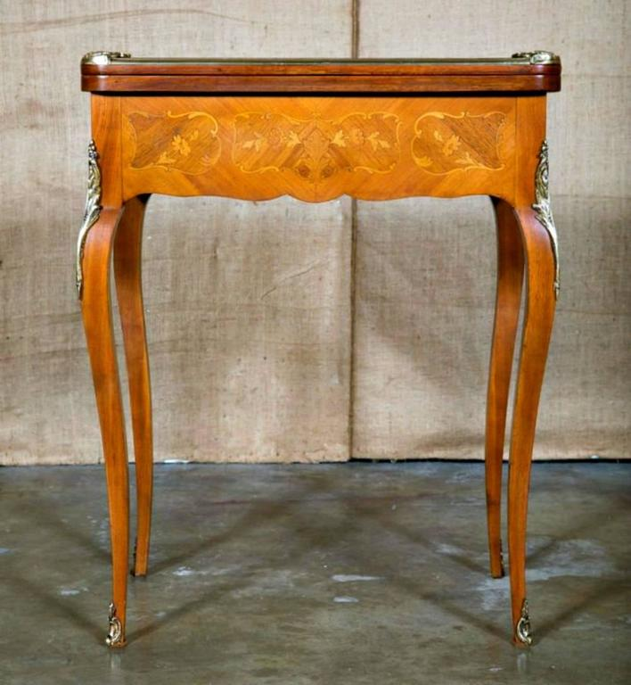 Petite French Louis XV Style Kingwood And Marquetry Inlaid Flip Top Game  Table 2