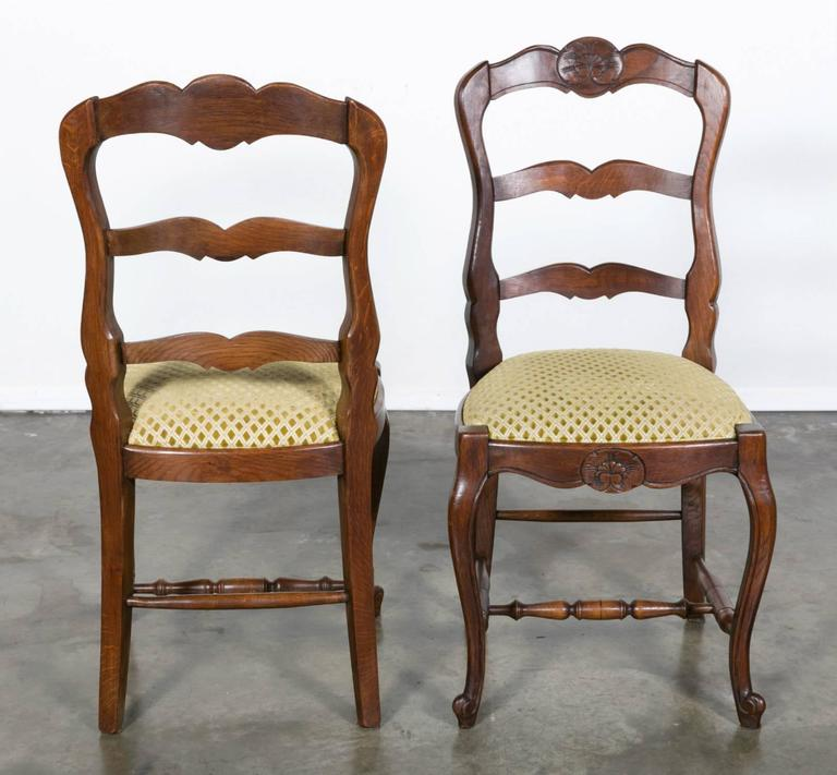 Set Of Six Country French Ladder Back Chairs With
